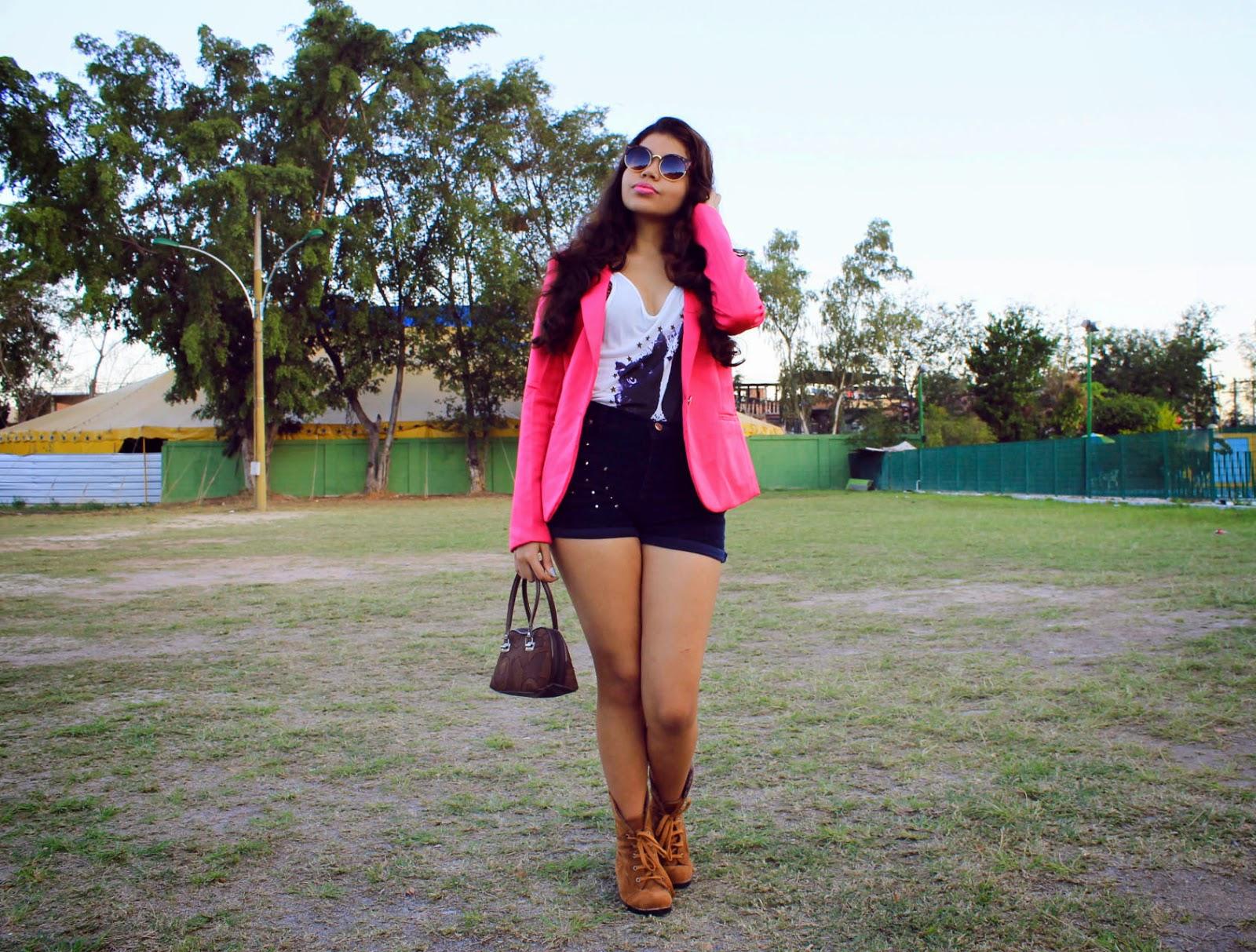 look bota marrom, look blazer rosa, look blazer rosa e bota, blazer colorido, Dresslily
