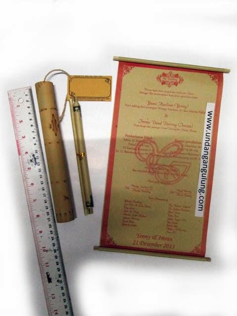 undangan gulung bambu 21cm murah