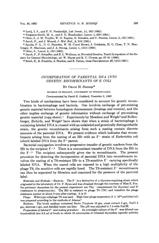 Paper in PNAS from 1966