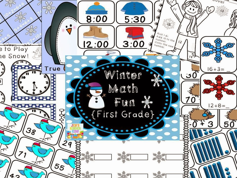 http://www.teacherspayteachers.com/Product/Winter-Math-Fun-First-Grade-1035503