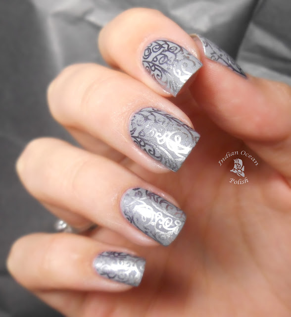 Indian Ocean Polish: Stamping Grey-dient With XL O Jumbo Plate