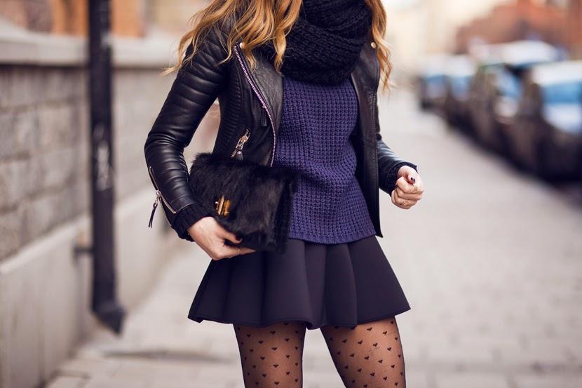 Stylish Leather jacket, indigo sweater, shorts and leggings for fall