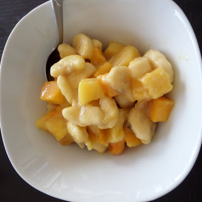 Tropical Fruit Salad:  A fruit salad made with pineapple, mango, and banana tossed in coconut milk.