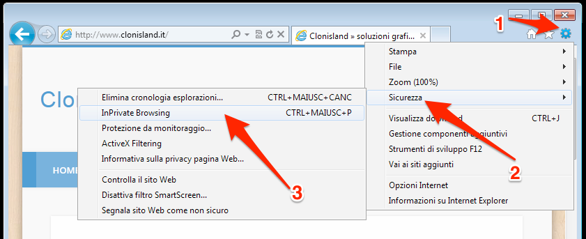 Come navigare in incognito con Internet Explorer 8