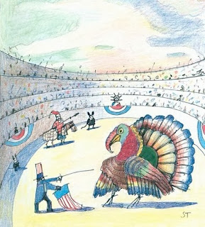illustration by Saul Steinberg for the NewYorker magazine cover of a turkey at thanksgiving