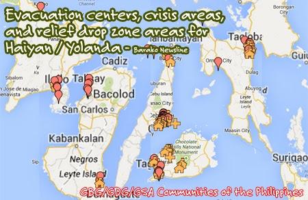 Crisis and Relief Map for Haiyan Yolanda Typhoon