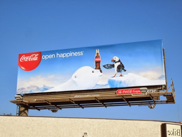 Coca Cola Christmas 2013 polar bear puffin billboard