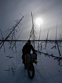 Aaron Fanetti on the Iditarod Trail headed to Nikolai