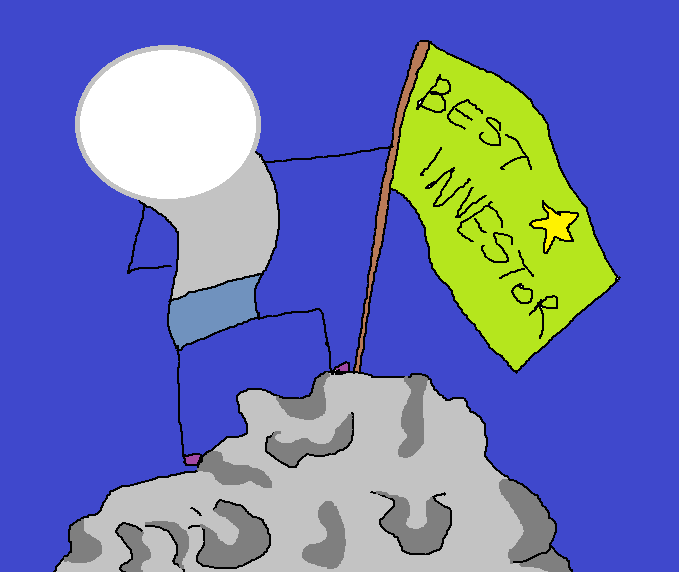 "A person with a blank face standing proudly at the top of a rocky hill, blue sky in the background, holding a flag that reads: ""Best Investor"""