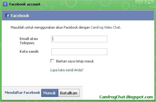 Login Camfrog Facebook Account
