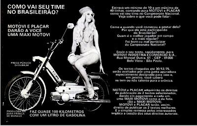 propaganda Motovi e revista Placar - 1975. brazilian advertising cars in the 70. os anos 70. história da década de 70; Brazil in the 70s; propaganda carros anos 70; Oswaldo Hernandez;
