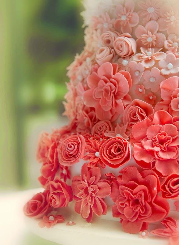 closeup detail of the wedding cake