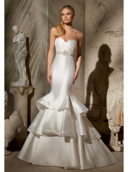 www.landybridal.co/chic-trumpet-mermaid-sweetheart-dropped-train-satin-ivory-sleeveless-lace-up-corset-wedding-dress-with-sashes-and-draped-cwlt14062.html