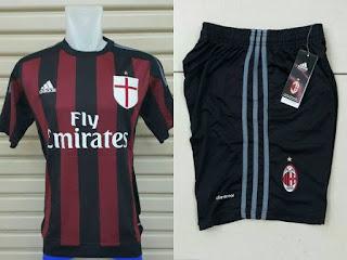 Jersey Official Ac Milan dan Celana bola home musim 2015/2016 detail gambar celana bola ac milan kualitas go