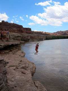 Now I'm cliff-jumping on the Colorado River in Utah!