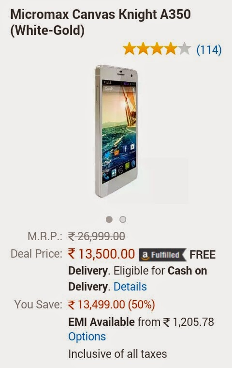 (Cheapest Ever) Micromax Canvas Knight A350 at Rs 13500 only (50% off)