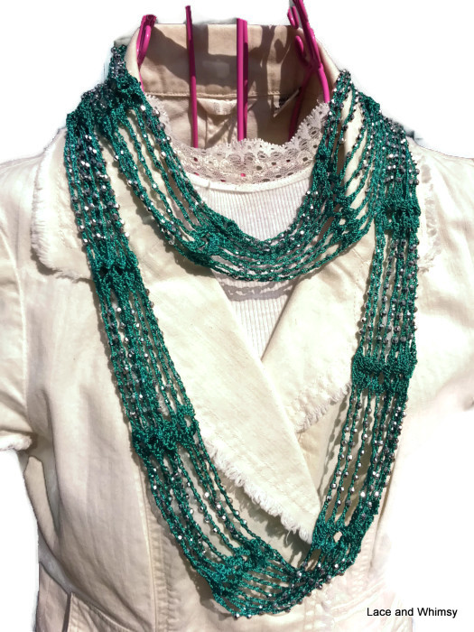 Free Crochet Scarf Patterns With Beads : Lace and Whimsy: Slinky Infinity Beaded Scarf Crochet Pattern