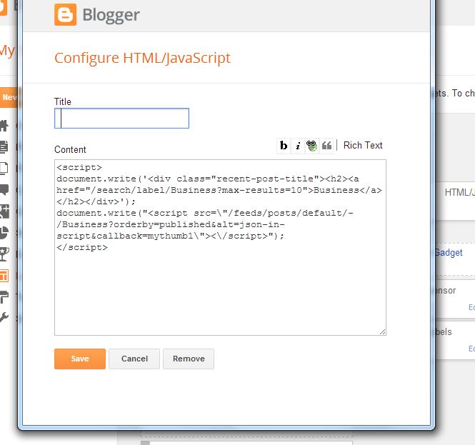 Cách tạo một widget của một nhãn nhất định trong Blogspot? Longstylecode