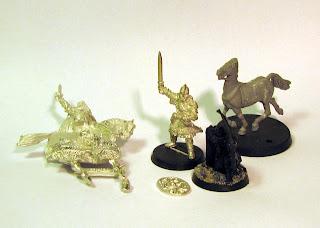 Figurki Władcy Pierścieni. Eomer Marshal of the Riddermak, Eomer z box'a Heroes of the West, Ranger Gondoru oraz rohański koń.