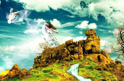 Mujer y ave en el cielo (Fotomontajes fantásticos)