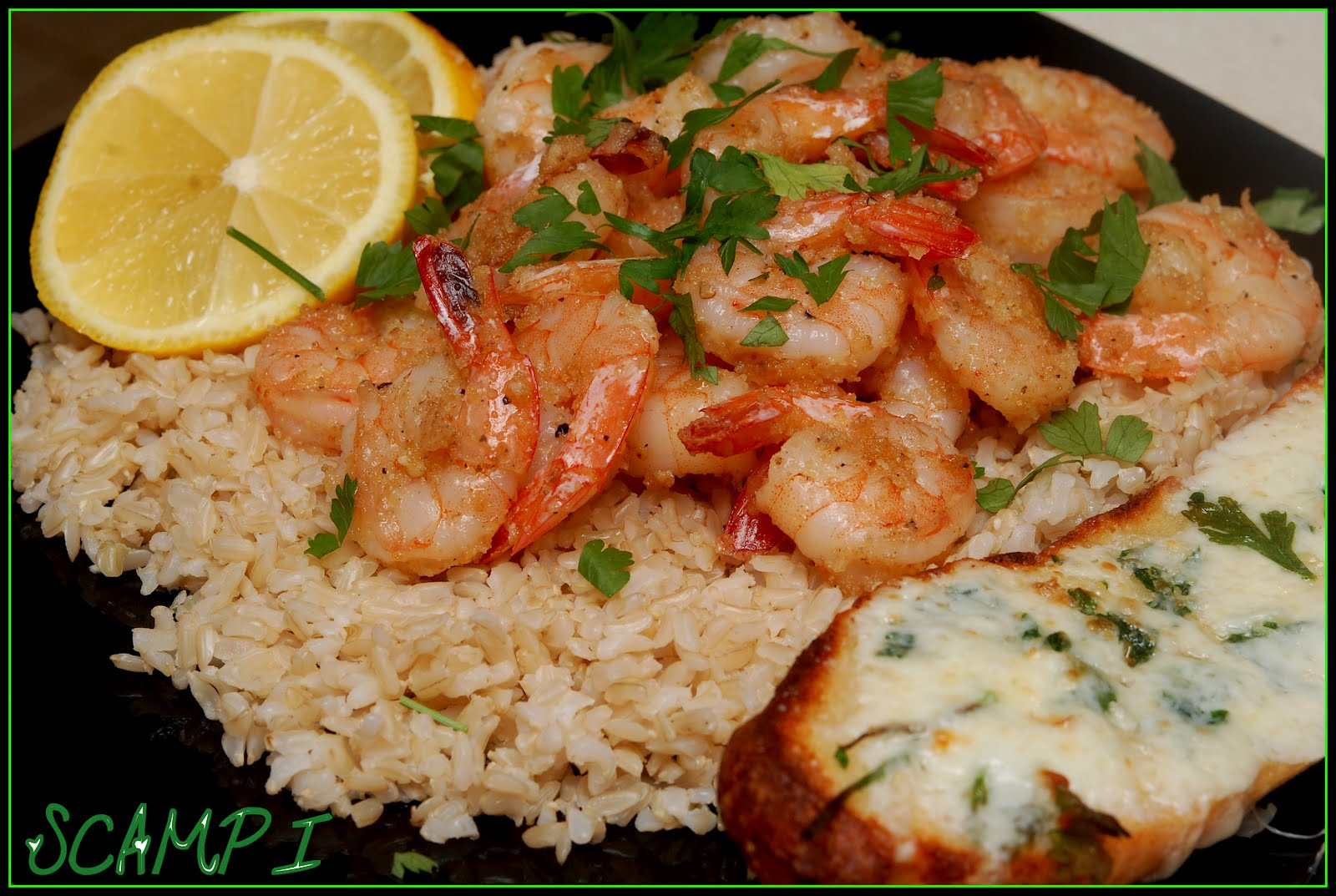 SHRIMP SCAMPI SERVED OVER BROWN RICE WITH GF FRENCH GARLIC BREAD ...