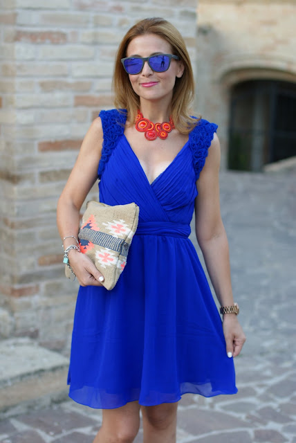 Royal blue chiffon dress, Oakley mirror sunglasses, floral applique elegant summer outfit, Fashion and Cookies