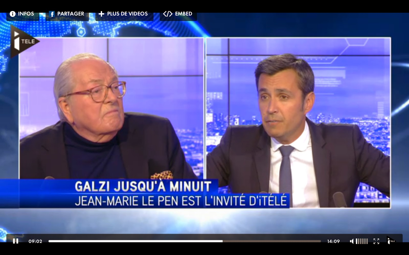 Jean-Marie Le Pen sur I>Télé avec olivier Galzi