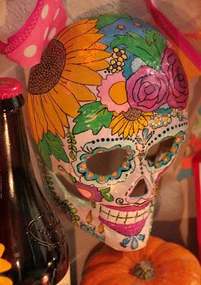 Floral Dia de los Muertos mask by Lisa Leggett