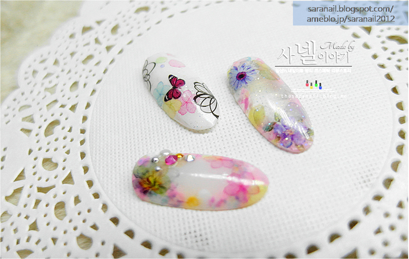 Tarashikomi Nail Art/ Easy-to-follow Tarashikomi Nail Art/ Flower print/ Using Nail Tip Nail Art/ Water Decal Sticker/ Butterfly pattern Nail Art Sticker