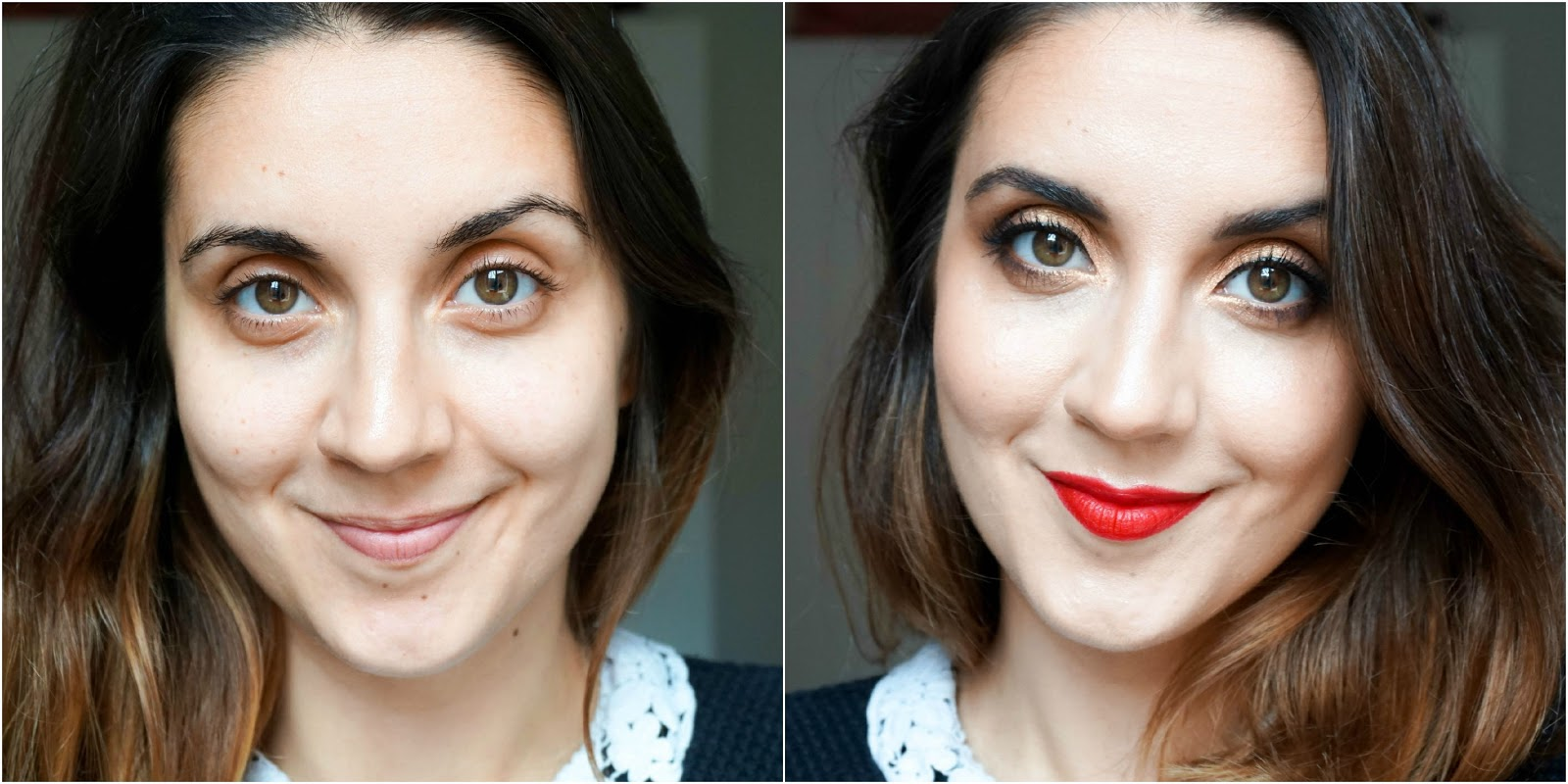 Golden Peach Eyes & Red Lips Makeup Look