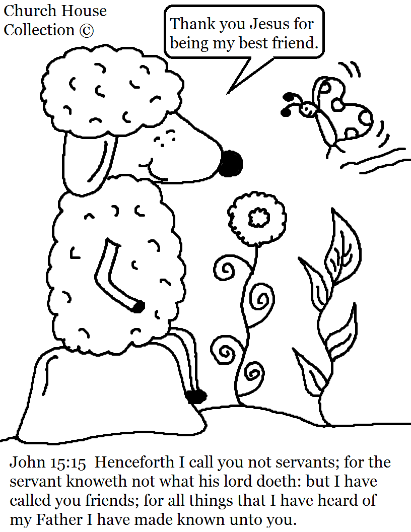 This is a free coloring page for kids in sunday school or childrens church this is a coloring page of a little sheep sitting on a rock looking at a