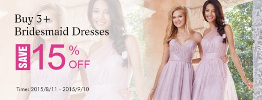 Landybridal - Those who purchase 3 or more than 3 bridesmaid dresses, can get 15% discount.