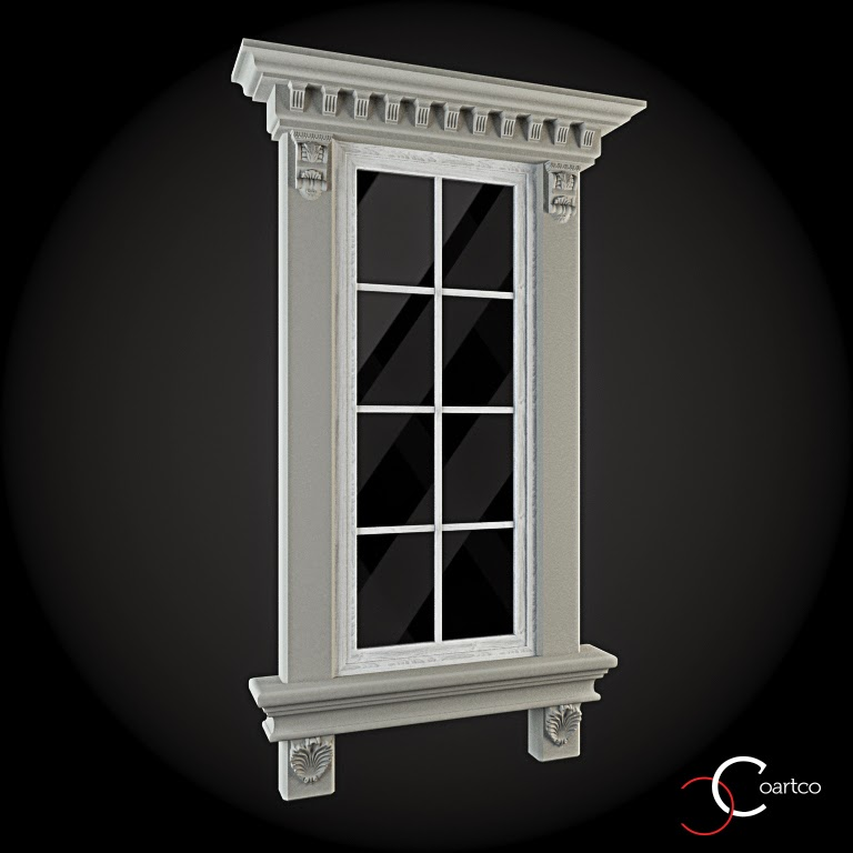Ornamente Geamuri Exterior, fatade case cu profile decorative polistiren, profile fatada,  Model Cod: WIN-014