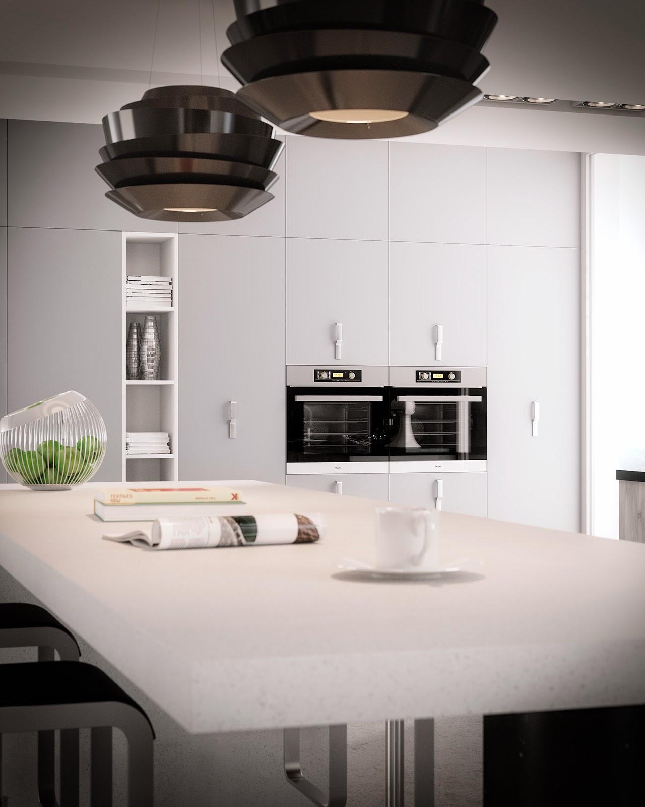 Jose vicente sanz march ambiente cocina con muebles en for Muebles blanco y negro