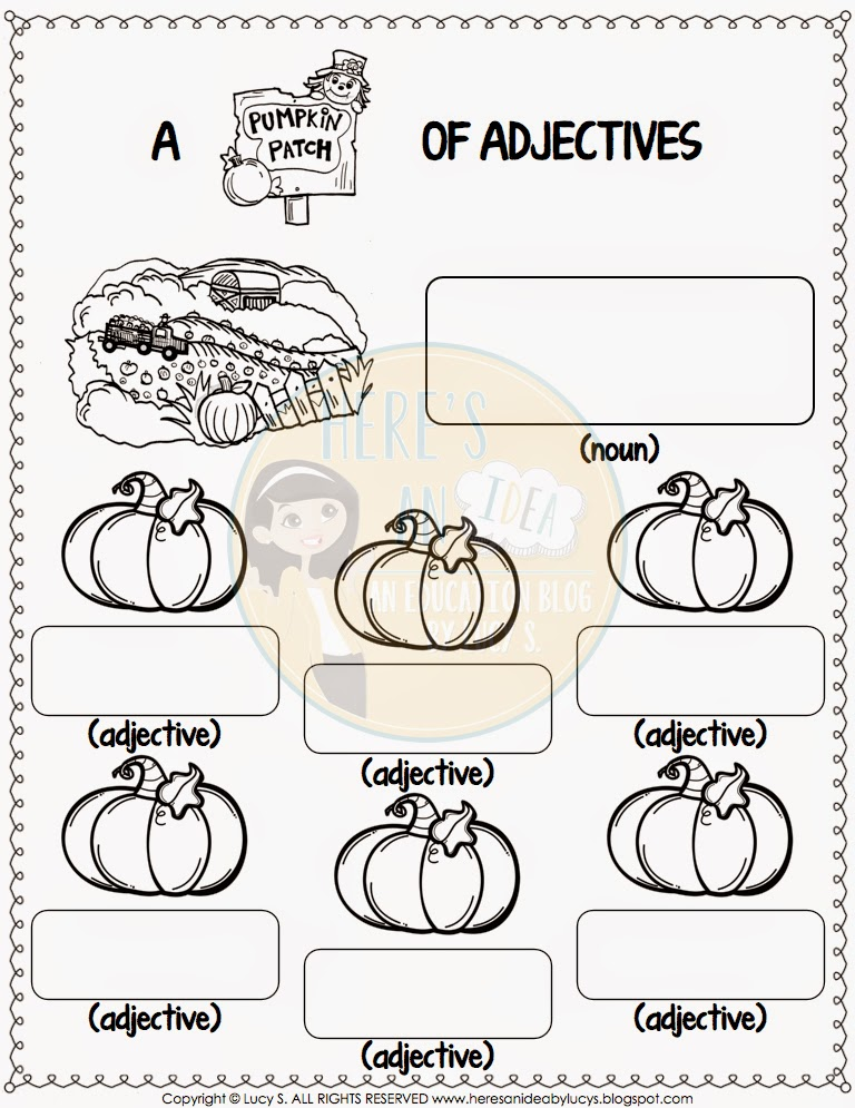 Pumpkin Patch Adjectives Answer Recording Sheet