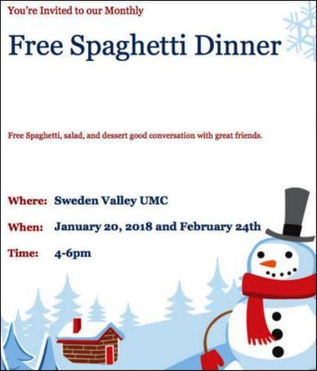1-20 Free Spaghetti Dinner, Sweden Valley UMC