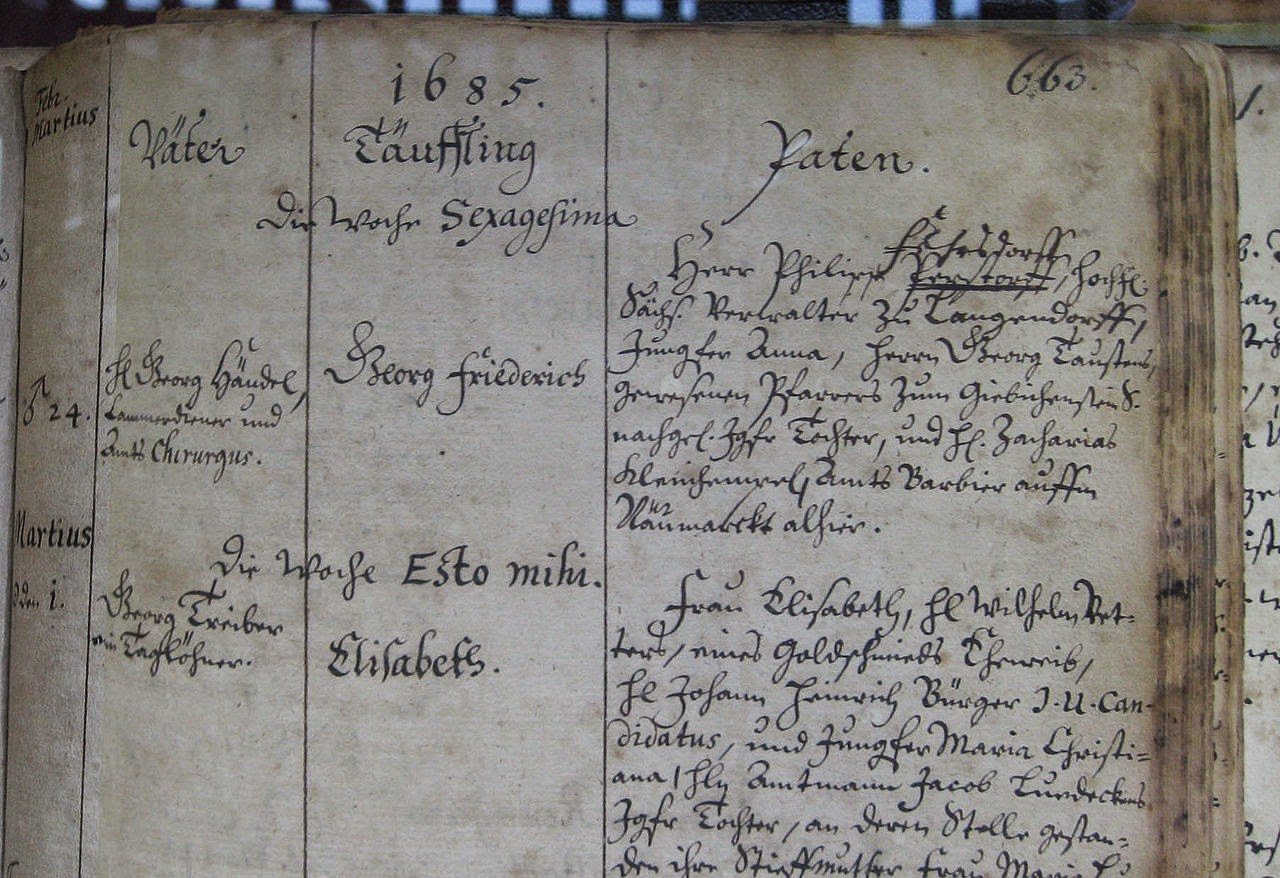 Handel's baptismal registration