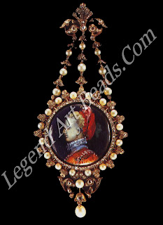 A Renaissance pendant of gold, enamel, rose-cut diamonds and a hanging pearl (1895).