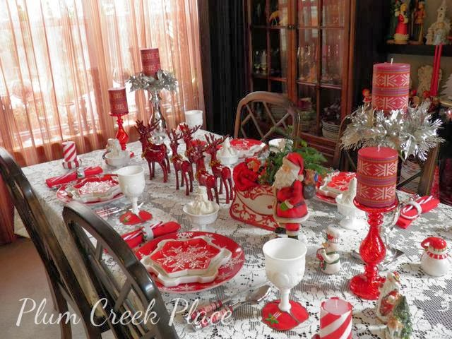 Santa, reindeer, sleigh, red and white tablescape, Christmas