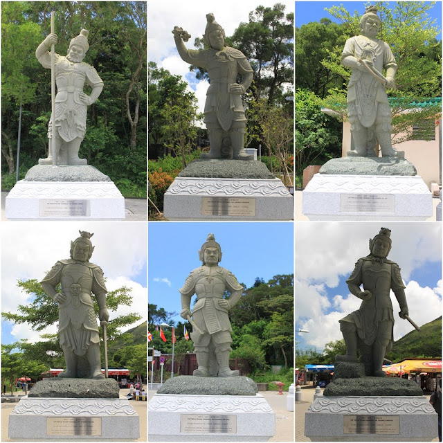 Line out of Statues of 12 Divine Generals can be seen at Bodhi Path of Ngong Ping Piazza in Ngong Ping Village of Lantau Island in Hong Kong