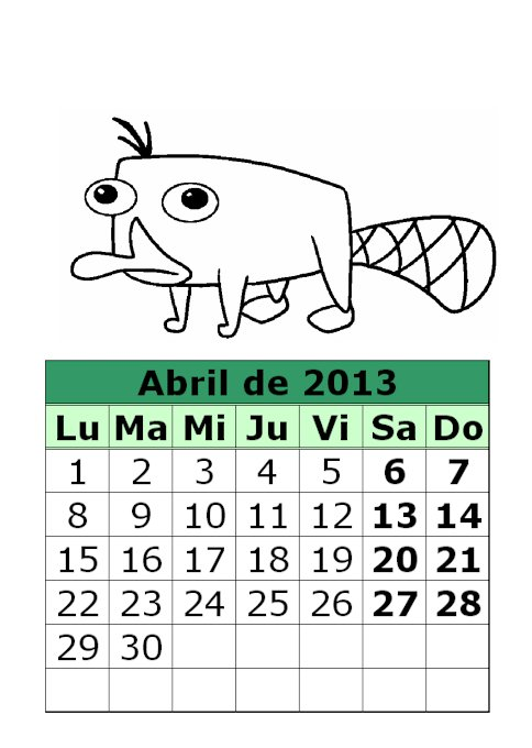 Calendario de Phineas y Fherb para colorear de 2013 (2ª parte)