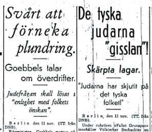 Om judeförföljelserna i Göteborgsposten den 11 november 1938