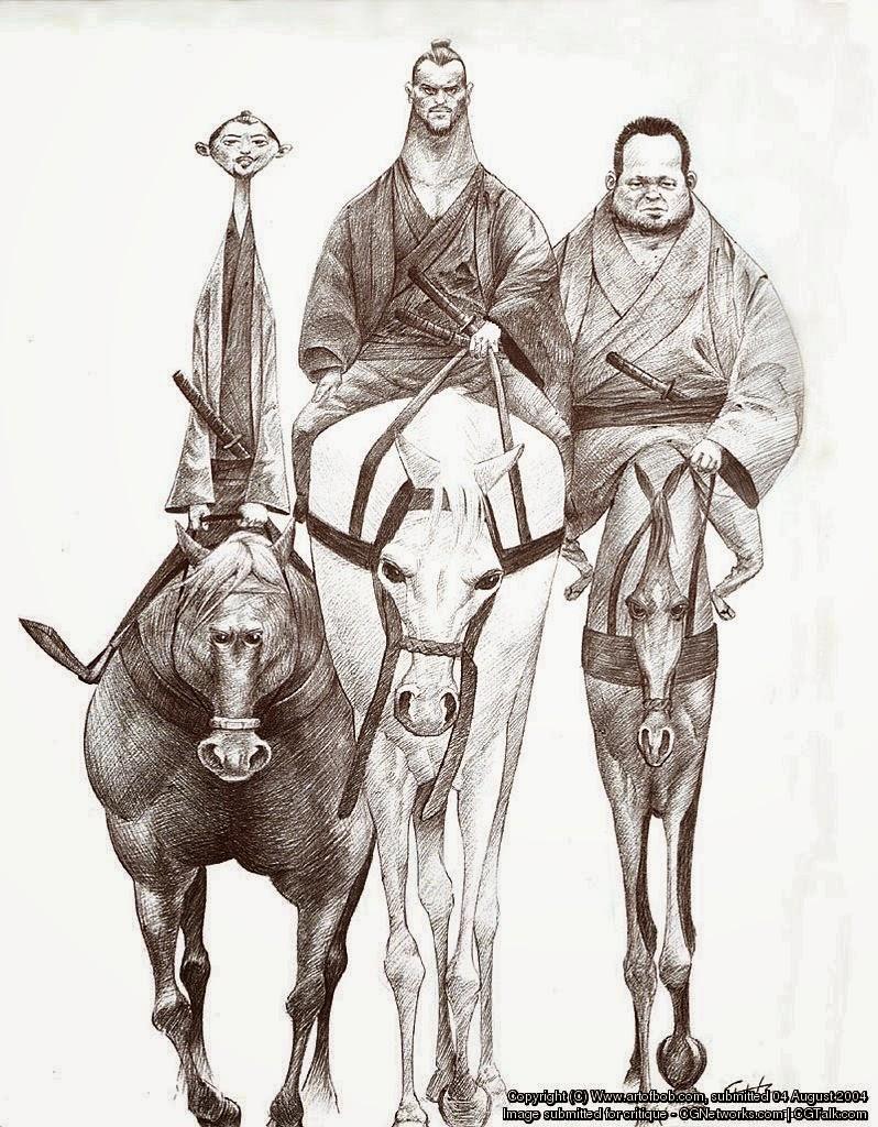 illustration de Bobby Chiu représentant 3 ronins sur leur chemin à l'état de crob'art
