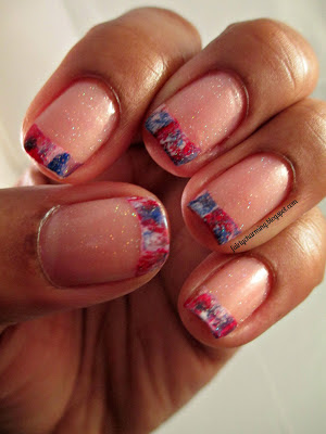 red white and blue, 4th of july, brushstroke, french, frenchie, nails, nail art, nail design, mani