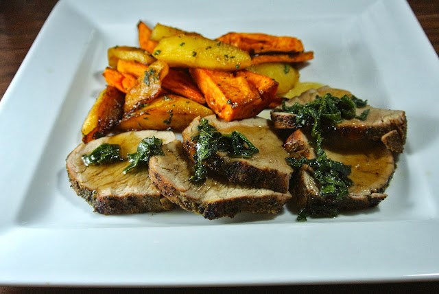 Sage rubbed pork tenderloin with maple roast sweet potatoes