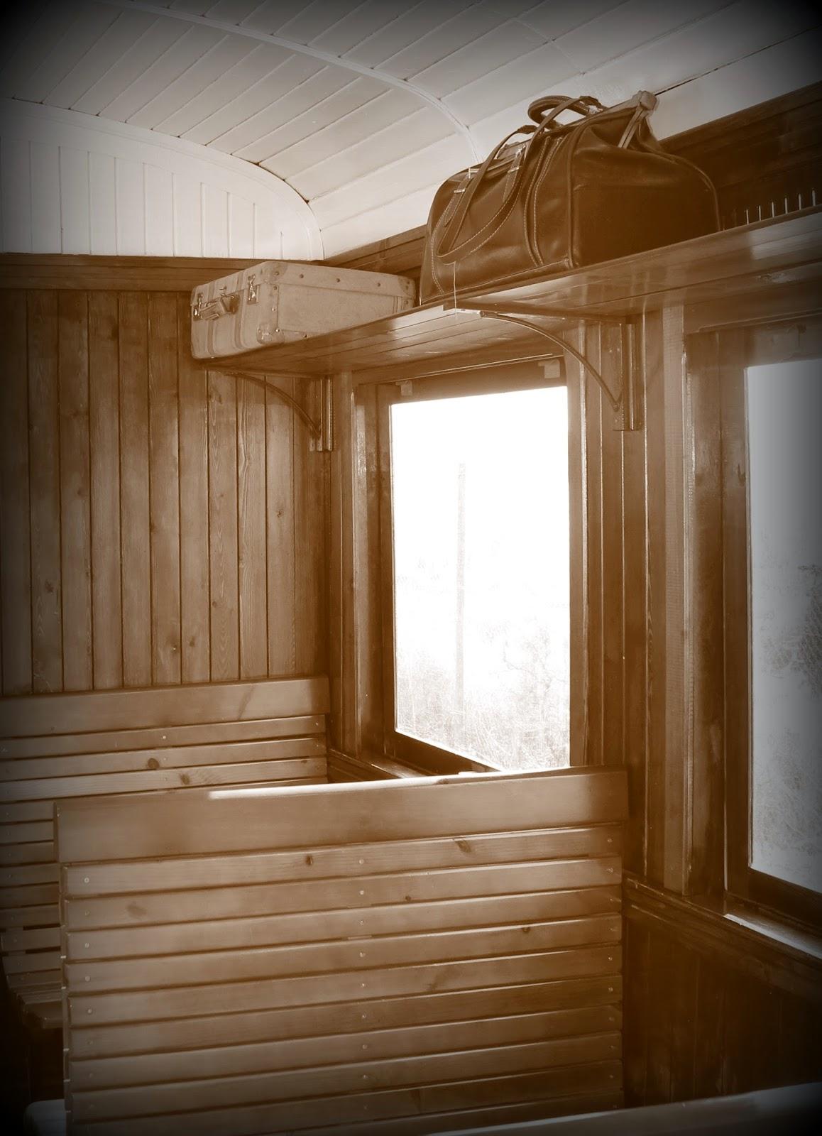 Interior vagón tajuña del tren de vapor