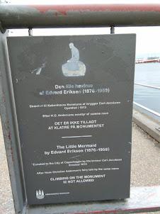 Plaque at the Little Mermaid statue in Copenhagen.