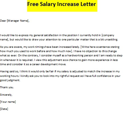 free salary increase letter
