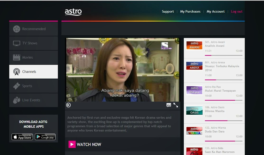 Astro on the Go S ONE channel