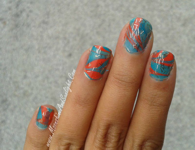 Water Marble Nail art teal and orange , LYN nail polish